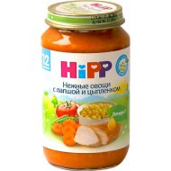 Пюре «Hipp» нежные овощи с лапшой и цыпленком, 220 г.