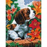 Картина по номерам «Azart» Щенок в саду, 30х40 см