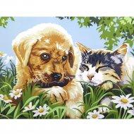 Картина по номерам «Azart» Щенок и котенок, 30х40 см
