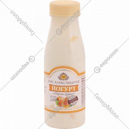 Йогурт «Б. Ю. Александров» с персиком и грушей, 1.5%, 290 г.