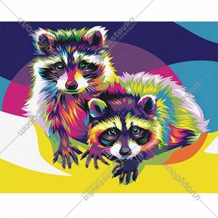 Картина по номерам «Azart» Радужные еноты, 30х40 см