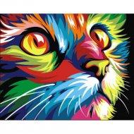 Живопись по номерам «Радужный кот» 30 х 40 см.