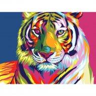 Живопись по номерам «Радужный тигр» 30 х 40 см.
