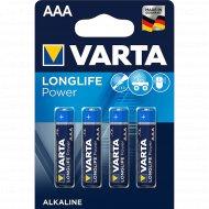 Элемент питания алкалиновый «Varta» ААА 1.5V, 4 шт.