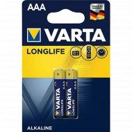 Элемент питания «VARTA» Longlife LR03, AAA, алкалиновый, 2 шт.