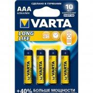 Элемент питания «VARTA» Longlife LR03, AAA, алкалиновый, 4 шт.