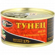 Тунец «Наш промысел» филе-кусочки в томатном соусе, 175 г.