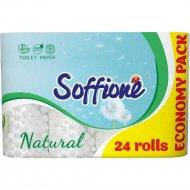 Бумага туалетная «Soffione Natural» из целлюлозы, 3 слоя, 24 рулона