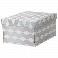 Коробка с крышкой «Смека» 26x32x17 см, белая, с рисунком.