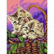 Живопись по номерам «Котята в корзинке» 30 х 40 см.