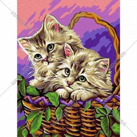 Картина по номерам «Azart» Котята в корзинке, 30х40 см