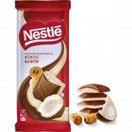 Шоколад молочный и белый «Nestle» с кокосовой стружкой и вафлей, 82 г.