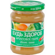Пюре фруктовое «Будь здоров» яблоко-груша, 240 г.
