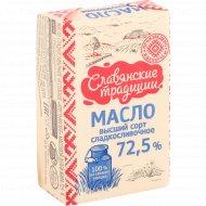 Масло сливочное «Славянские традиции» Крестьянское, несоленое, 72.5%, 180 г