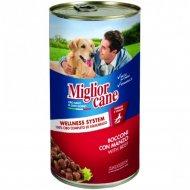 Консервы «Miglior cane Beef» для собак, с говядиной, 1.25 кг.