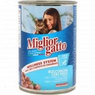 Консервы «Miglior» для кошек, кусочки с рыбой в соусе, 405 г.