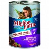 Консервы «Miglior» для кошек, кусочки с дичью в соусе, 405 г.