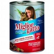 Консервы «Miglior» для кошек, кусочки с говядиной в соусе, 405 г.