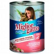 Консервы «Miglior» для кошек, кусочки с лососем в соусе, 405 г.