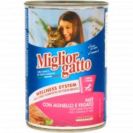 Консерва «Miglior» для кошек, паштет ягнёнок и печень, 400 г.