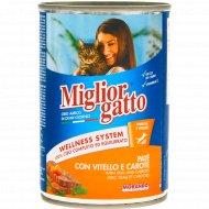 Консервы «Miglior» для кошек, паштет с телятиной, 400 г.