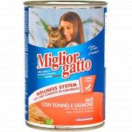 Консерва «Miglior» для кошек, паштет лосось и тунец, 400 г.