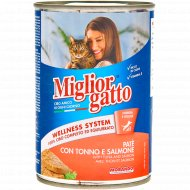 Паштет для кошек «Miglior Сlassik Pate Tuna» лосось, тунец, 400 г.