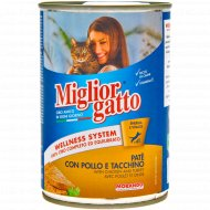 Паштет для кошек «Miglior Сlassik Pate Chicken» курица, индейка, 400 г.