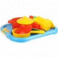 Набор детской посуды «Настенька» с подносом, на 2 персоны.