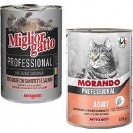 Консерва «Morando» для кошек, кусочки в соусе с лососем, 405 г.