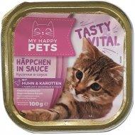 Консервы для кошек «My happy Pets» курица с морковью, 100 г