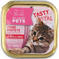 Корм для кошек «My Happy Pets» с говядиной и печенью, паштет, 100 г.