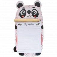 Блок для записи «Милые животные» с карандашом, 90x170 мм, 40 л.