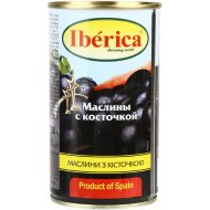 Маслины черные «Iberica» с косточкой, 360 мл.