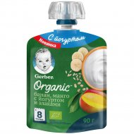 Пюре «Gerber Organic» банан-манго с йогуртом и злаками, 90 г.