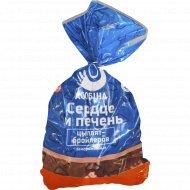 печень и сердце цыплят-бройлеров «Асобiна» замороженные 1 кг., фасовка 0.8-1.2 кг