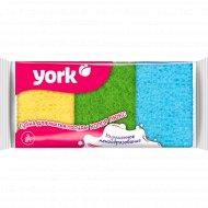 Губка для мытья посуды «York» колор люкс, 3 шт.
