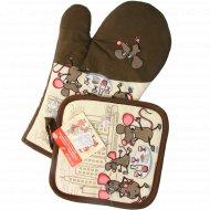 Набор «Мышки-путешественники» прихватка с рукавицей, HN88-364.
