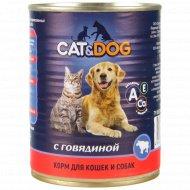 Корм для кошек и собак «Cat & Dog» с говядиной, 350 г.