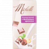 Молочный шоколад «Michelle» с дроблёным арахисом, 90 г.