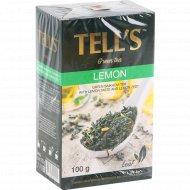Чай зеленый байховый «Tell's» со вкусом лимона и цедрой лимона, 100 г.