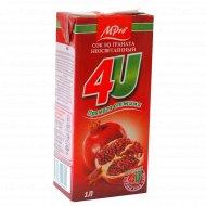 Сок «4U» гранатовый c сахаром, 1 л.