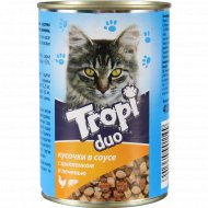 Корм для взрослых кошек «Tropi» Duo в соусе с птицей и печенью, 415 г.