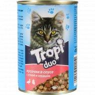 Корм для взрослых кошек «Tropi» Duo в соусе с уткой и сердцем, 415 г.