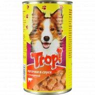 Корм для взрослых собак «Tropi» в соусе говядиной, 1250 г.