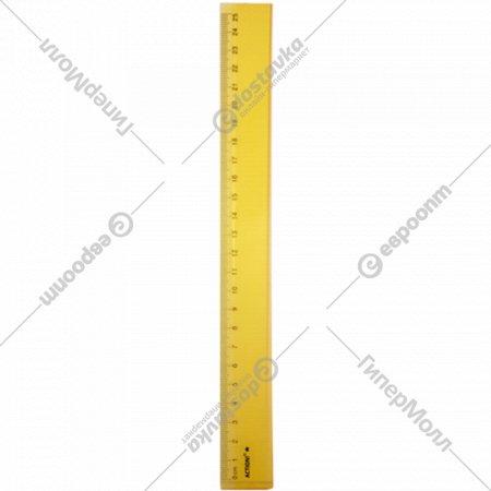 Линейка флюоресцентная, прозрачная, пластиковая, 25 см