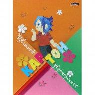 Цветной картон двусторонний «Полянка» А4, 8 листов.