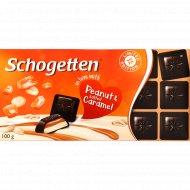 Темный шоколад «Schogetten» с арахисом и соленой карамелью, 100 г.