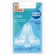 Соска силиконовая «Canpol Babies» для бутылочек с широким горлом.