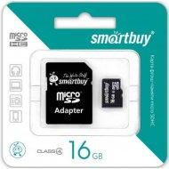 Карта памяти «Smartbuy» 16GB, Class 10, с адаптером.